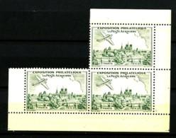 Expo. Philatélique Poste Aérienne PARIS 1943 - Bloc Comportant 3 Vignettes Vertes - Gommé - Neuf N** - Très Beau - Aviation