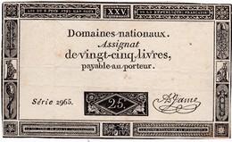 ASSIGNAT 25 LIVRES * 6-6-1793 Série 2965 * Bel état (B) - Assegnati