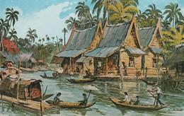 Thaillande :  A Typical Village Scene Of Thailand Painting - By Som Khit Kosanwat - Illustrateur - - Thaïland