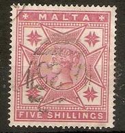 MALTA 1886 5s SG 30 FINE USED Cat £80 - Malta (...-1964)