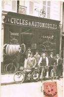 Carte Photo Cycles Et Automobiles G.DELAPLACE - Rue Des Fontaines PARIS-Motocyclette D'époque-Personnel-voyagée - Francia