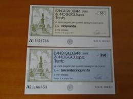 BANCA CALDERARI & MOGGIOLI S.p.a.  TRENTO 2 Pezzi - [10] Assegni E Miniassegni