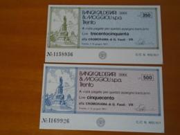 BANCA CALDERARI & MOGGIOLI S.p.a.  TRENTO 2 Pezzi 300 E 500 - [10] Assegni E Miniassegni