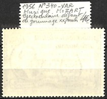 NB - [836139]TB//**/Mnh-Congo Belge 1956 - N° 340-VAR, Spectaculaire Défaut De Gommage, Musique, Wolfgang Amadeus Mozart - Congo Belge