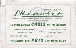 BUVARD BLOTTING PAPER QUINCAILLERIE L'HENORET A BREST  29 FINISTÈRE GRAND CHOIX CUISINIÈRES RÉFRIGÉRATEURS - Buvards, Protège-cahiers Illustrés