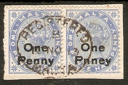 """MALTA 1902 1d On 2½d BRIGHT BLUE IN A FINE USED PAIR TIED TO PIECE  INC. """"One Pnney"""" VARIETY SG 37/37a - Malta (...-1964)"""