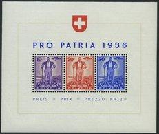 SCHWEIZ BUNDESPOST Bl. 2 **, 1936, Block Pro Patria, Pracht, Mi. 75.- - Schweiz