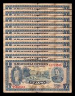 Colombia Lot Bundle 10 Banknotes 1 Peso Oro 1953 Pick 398 BC F - Colombia