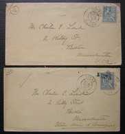 Vichy 1901 Lot De Deux Lettres Pour Boston Massachusetts ((États Unis USA) - 1877-1920: Semi Modern Period