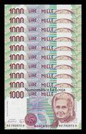 Italia Italy Lot Bundle 10 Banknotes 1000 Lire M. Montessori 1990 Pick 114a UNC - [ 2] 1946-… : Repubblica