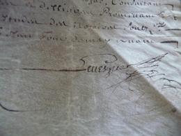 Pièce Signée E.Bimenet Chapelain Aumônier Louis XIV In 8 Obl 11/05/1665 Démission Charge Pour J.Bordage Paris Un Pli - Autógrafos