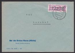 WAREN (Müritz) DDR ZKD B11(3013) Kreisaufdruck Rat Des Kreises 9.5.57 Nach Bornhof - DDR