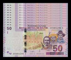 Bolivia Lot Bundle 10 Banknotes 50 Bolivianos 2018 Pick New Design SC UNC - Bolivia