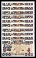 Guinea Lot Bundle 10 Banknotes 100 Francs 2012 Pick 35b SC UNC - Guinea