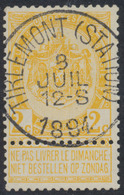 """Fine Barbe - N°54 Obl Simple Cercle """"Tirlemont (Station)"""". Superbe Centrage! - 1893-1900 Fine Barbe"""