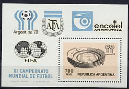 Argentina, 1978, Soccer World Cup, Football, MNH Souvenir Sheet, Michel Block 20 - Argentina