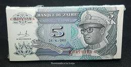Zaire Bundle 100 Banknotes 5 Makuta 1993 Pick 48 SC UNC - Zaïre