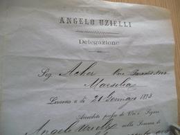 1873 TP France Fiscal étranger Sur Lettre à En Tête Angelo Uzielli Italie Italia - Revenue Stamps