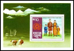 Bhutan, 1974, World Population Year, United Nations, MNH, Michel Block 67 - Bhoutan