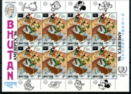 Bhutan, 1986, Twain, Disney, Ameripex Stamp Exhibition, Youth Year, United Nations, MNH Sheet, Michel 977 - Bhoutan