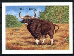 Bhutan, 1990, Animals, Fauna, Cattle, Gaur, MNH, Michel Block 284 - Bhutan
