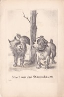 COMICAL DOG POSTCARD. STREIT UM DEN STAMMBAUM - Dogs