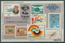 Bolivia, 1979, ICAO, History Of Aviation, Airplanes, United Nations, MNH, Michel Block 82 - Bolivia