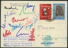 NEPAL 1972, Erste Europäische MT. Everest-Expediton, Leiter: Dr. Karl M. Herrligkoffer, Ansichtskarte Mit Unterschriften - Nepal