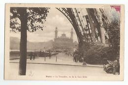 75 Paris Trocadero U De La Tour Eiffel Pilier Carte Rare Animée Auto - Tour Eiffel