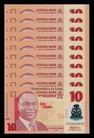 Nigeria Lot Bundle 10 Banknotes 10 Naira 2016 Pick 39g Polymer SC UNC - Nigeria