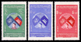 Cambodia, 1957, Admission To The United Nations, MNH, Michel 72-74 - Cambodge