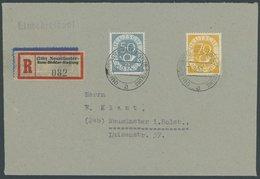 BUNDESREPUBLIK 134,136 BRIEF, 11.3.1952, 50 Und 70 Pf. Posthorn Auf FDC, Einschreibbrief Aus NEUMÜNSTER HANS-BÖCKLER-SIE - BRD