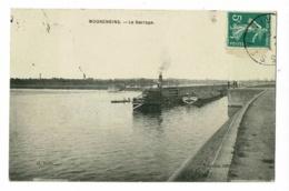 """Mogneneins - Le Barrage ( Le Vapeur """"Le Corsaire"""" Tire Un Chaland Hors De L'écluse, Animation) Circulé 1909 - France"""
