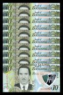 Botswana Lot Bundle 10 Banknotes 10 Pula 2018 Pick 35 Polymer SC UNC - Botswana