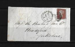 1853 QV 1Penny Red Imperf Bristol Duplex A Postmark Cover To Bradford - 1840-1901 (Victoria)