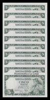 España Spain Lot Bundle 10 Banknotes 5 Pesetas Alfonso X 1954 Pick 146 SC UNC - [ 3] 1936-1975 : Régimen De Franco