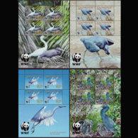 PENRHYN 2005 - Scott# 468A-71A Sheets-WWF Egrets MNH - Penrhyn