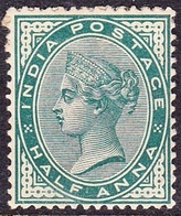 INDIA 1886QV 1/2 Anna Deep Blue-Green SG84 MH - India (...-1947)