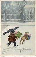Die Besten Wünsche Zum Neuen Jahr - Kind Und Hund Mit Blumen 1941 - Neujahr