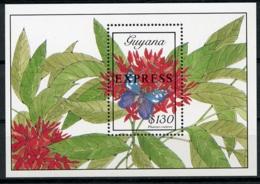 Guyana, 1989, Butterflies, Flowers, MNH Sheet, Michel Block 53 - Guyane (1966-...)