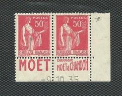 - 2 Timbres  Paix N° 283 Type IV Avec Bande Publicitaire Et Date 9.10.1935 - Frankreich
