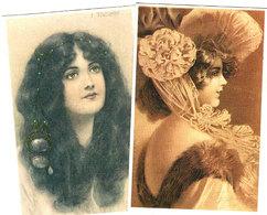 2 Cartes Jeune Femme -vrouw -lady- - Women