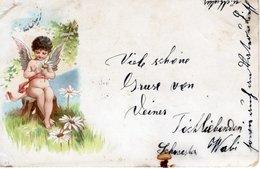 Grüsse Von Deiner Schwester - Engel Mit Blumen 1900 - Feiern & Feste