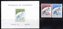 ESPACE - GUATEMALA - PA N° 449/450 + BLOC N°10 ** (1969) APOLLO 11 - Amérique Du Sud