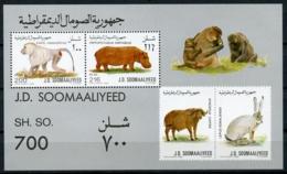 Somalia, 1989, Mammals, Monkey, Hippo, Buffalo, Hare, MNH, Michel Block 25 - Somalia (1960-...)