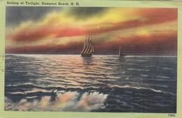 Postcard Sailing At Twilight Hampton Beach New Hampshire PU 1949 To Captain Castling West Hartlepool  My Ref  B13301 - United States