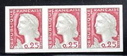 FRANCE - N° 1263 ** En Bande De 3 (1960) Marianne De DECARIS - NON DENTELE - Imperforates