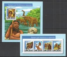 ST940 2015 GUINE GUINEA-BISSAU FAUNA PREHISTORIC MEN & MAMMOTH HOMENS MAMUTES KB+BL MNH - Stamps