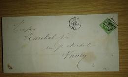 N° 12 (5c Empire, Marge Gauche Courte Mais Filet Non Touché) Sur Bande De Faire-part De 1857 - Marcofilia (sobres)