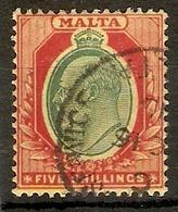 MALTA 1911 5s SG 63 FINE USED TOP VALUE OF THE SET Cat £75 - Malta (...-1964)